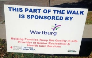 2014 Wartburg Cares Light the Night Sign